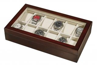 WOODEN WATCH BOX WITH GLASS WINDOW (hold 12 watches)