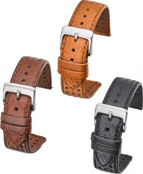 SMOOTH STITCHED PERFORATED LEATHER 18 - 22MM